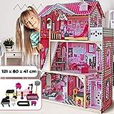 Infantastic Casa delle Bambole in Legno | 121x80x41 cm, 3 Livelli di Gioco, 12 Accessori e Mobili Inclusi, 4 Stanze, per Bambole di 27 cm | Casetta per Bambole, Casa Barbie Miniatura