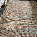 Handgewebter Teppich, Seegras, Naturfasern, natürlich, rustikal, zum Wenden, 120 x 180 cm, beige/blaugrün/helltürkis