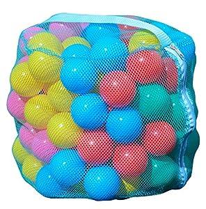 Idena 40117 - Juego de 100 Pelotas de plástico para Tienda de campaña o Piscina, en 5 Colores Azul, Rojo, Amarillo, Verde, Rosa, 6 cm de diámetro