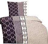 Leonado Vicenti Bettwäsche 135x200 cm Mikrofaser mit Reißverschluss Set und Farbe wählbar, Set:135x200 cm 4 teilig, Muster:Ranke Elegant