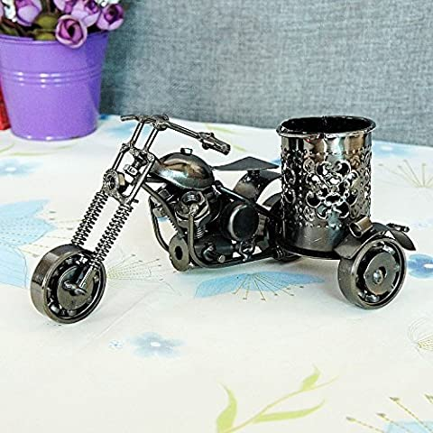LLL-Motocicleta metal lápiz metal florero artes manualidades adornos , black
