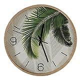 Uhr Exotic, Holz Kunststoff, natur grün, 33 cm - Wanduhr mit Palmblatt