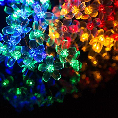 H&D Youngsun® 60er LED Solar Lichterkette Kirschblüten 10,85 Meter bunt Außen Innen Outdoor Garten cherry blossom Fairy Light Party Fest Deko Weihnachten Hochzeit Beleuchtung