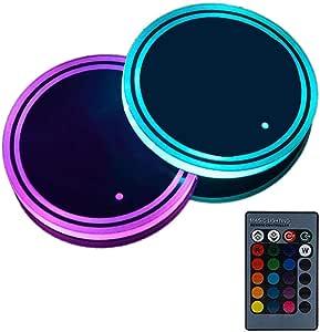 Layopo Sottobicchiere per Auto,coppa tappetina e luce LED 2 in 1 design con telecomando wireless 7 colori e 3 modalit/à tra cui scegliere