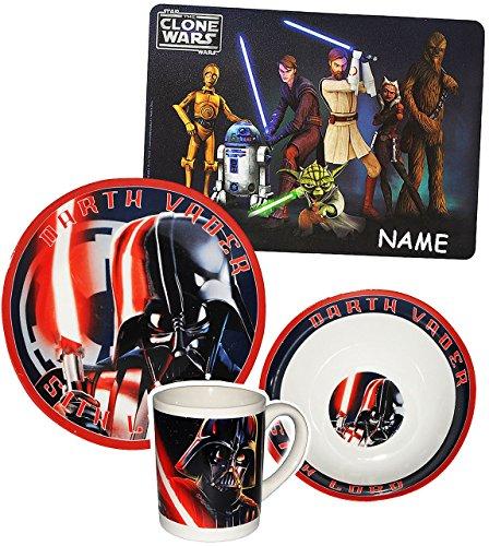 Unbekannt 4 tlg. Geschirrset  - Star Wars / Darth Vader Luke Skywalker  - Incl. Namen ..