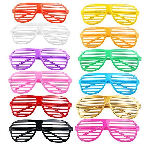 UEETEK 12 x Kunststoff Shutter Mode Farben lustig posiert Sonnenbrillen Brillen Pop Club (Kostüm Verkauft Halloween Meisten Die)