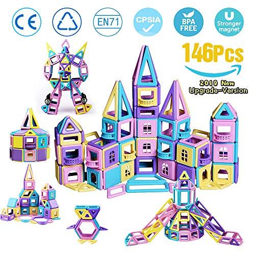 infinitoo Magnetische Bausteine 146Pcs Schloss Magnetic Bauklötze Baukasten Kinder   3D Macaron Lernen & Entwicklung Bausteine Spielzeug   Perfekt für Zuhause, Schulen, Kindertagesstätten (Das Perfekte Zuhause)