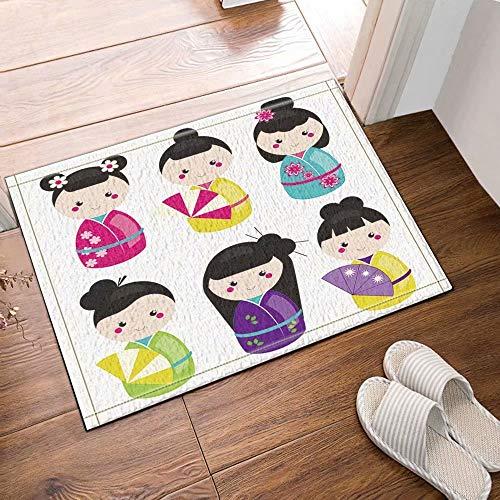 FEIYANG Traditionelle japanische Puppen Kokeshi Badteppiche Rutschfeste Fußbodeneingänge Outdoor Indoor Haustürmatte 50x80cm Badematte Bad Teppiche