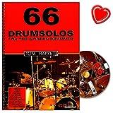 66 Drumsolos for the modern Drummer - riesige Inspirationsquelle für jeden Schlagzeuger - von Anfänger bis Profi - Lehrmaterial von Tom Hapke mit CD und bunter herzförmiger Notenklammer
