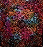 Best American Crafts Feuilles d'artisanat - Indian-hippie Bohemian-psychedelic-elephant Star-mandala Wall-hanging-tapestry-tie-dye-red Queen-size-large-84X 90 Review
