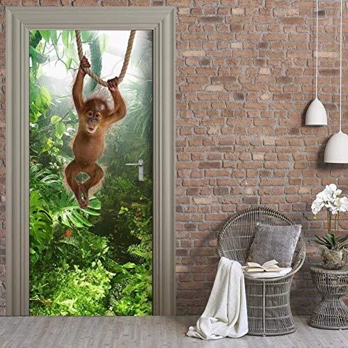 leber, 2 Panels AFFE Baby Bild 3D Wandbilder Wandaufkleber Türaufkleber Tapete Aufkleber Home Decoration ()