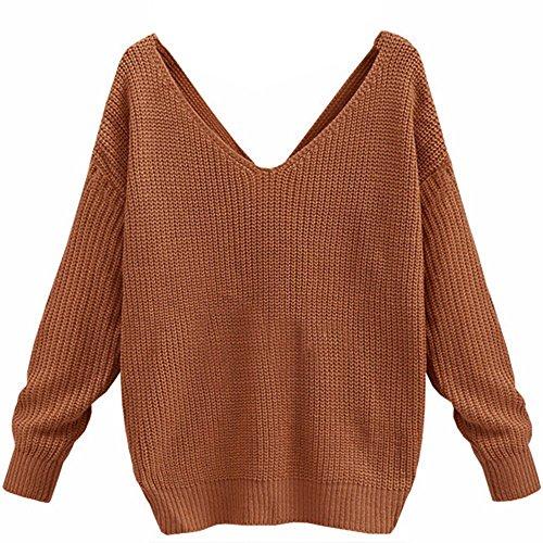 Minetom Damen Herbst Winter Sexy Rückenfrei Pullover Casual Loose V-Ausschnitt Langarm Sweater Jumper Strickwaren Kaffee