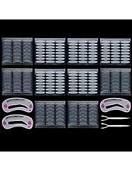 Lictin 240 Paar Augenlid Tape Augenlid Aufkleber einseitige Augenlid Aufkleber, Wasserdicht und Unsichtbar, mit 3 Augenbrauen Schablone
