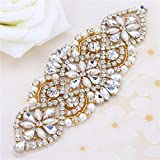 Kristalle und Strass Bügeleisen mit Perlen für Hochzeit Braut Gürtel Kopfstücke Strumpfbänder (Gold mit Perlen)