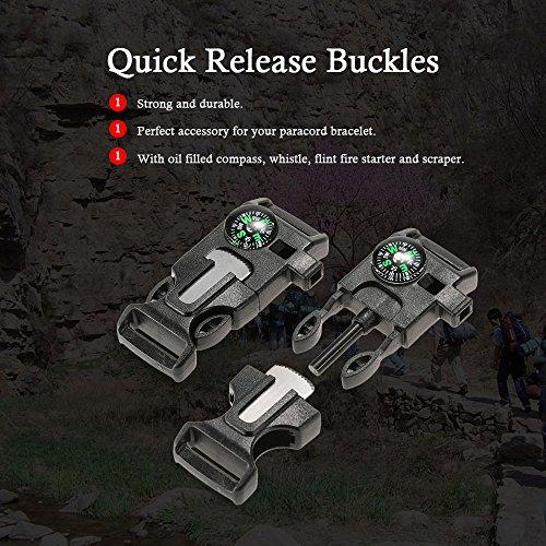 Imagen de lixada plástico silbato hebilla de liberación rápida flint arrancador de fuego para paracord pulsera al aire libre camping emergencia supervivencia hebilla alternativa