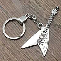 YCEOT Electric Guitar Keyring Electric Guitar Keychain 77X32Mm Antique Silver Electric Guitar Key Chain Souvenir Gifts For Men