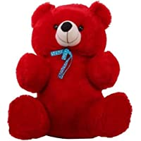 HUG 'n' FEEL SOFT TOYS Long Soft Lovable hugable Cute Giant Life Size Teddy Bear (2 Feet, Red)