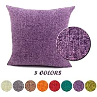 """J&T Cushion Covers Cotton Linen Square Home Decorative Pillow Covers Throw Sofa Car Pillow Case with Concealed Zipper 26""""x26"""" 65X65CM Purple"""