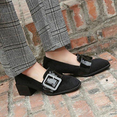 COOLCEPT Femmes Mode Boucle Belt Talon bas Escarpins Brogues Flocking Chaussures Noir