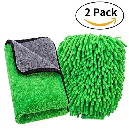 FMS Weicher Korallen Auto Chenille Waschhandschuh Handschuh und 840gsm Mikrofaser Reinigungstücher Set, Extrem Saugstark und Fusselfrei