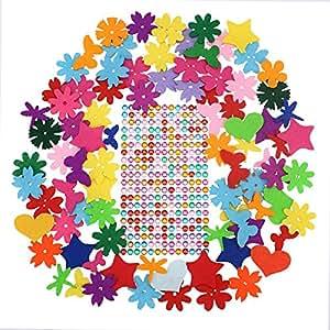 Soledì Fiori Farfalle Cuori Colorati in Feltro con Bastoncino di Colla e Diamanti Colorati per Lavoretti Decorare 320 Pezzi