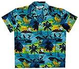 Alvish Hawaiian Shirts 43B Boys allover Print Beach Aloha Party Camp Turquoise S