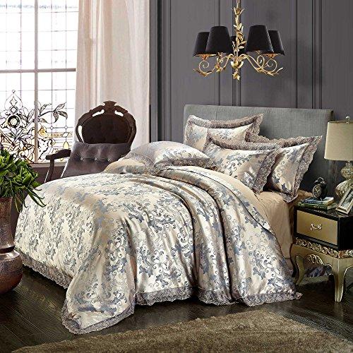 Beddingleer Bettwäsche 200 x 230 cm Silber 4-tlg Luxus Weiche Bettbezug Sets Satin Jacquard Paisley gehören 1 Bettbezug+1 Bettlaken+2 Kissenbezüge (Satin Voll Tröster)