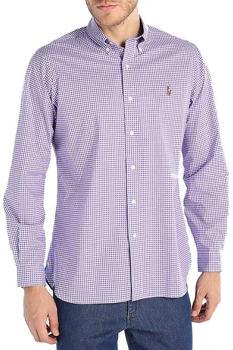 Ralph Lauren Camisa Classic Slim Fit (S, Checkered Grey ...