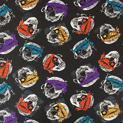 Bandana Schlafanzug (Schwarz Halloween Bandana SKULLS 100% Baumwolle gedruckt Stoff für,, Kleid 152,4cm 150cm breit–Meterware)