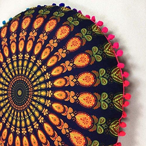 Housse doreiller Mandala, Internet Grand Bohème Ronde Étui à Oreiller en Polyester (80*80cm, Jaune) Or