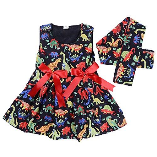 Anywow Kleinkind Baby Mädchen Dinosaurier Bedruckt gekräuselten Tank Kleid mit passendem Stirnband Kleinkind Mädchen Swing Kleider