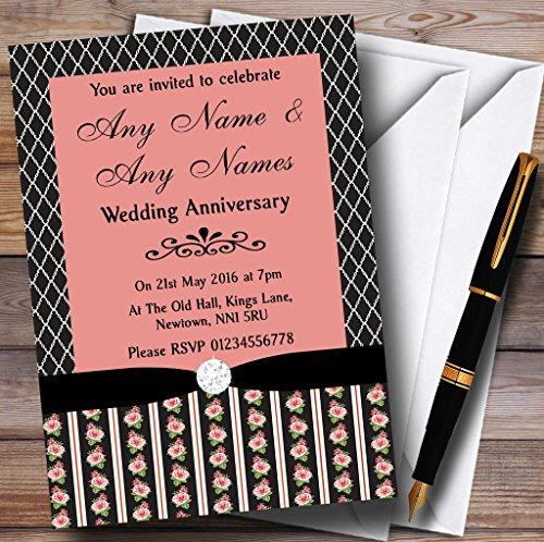 Schwarz und Coral Pink Rose Shabby Chic Personalisiertes Anniversary Party Einladungen