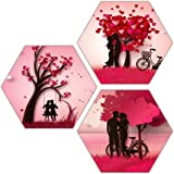 Xpression Decor Hexagon Piece Painting on 6mm Pine MDF of Love Couple 0992 (55 X 55cm, Multicolor, Set of 3 )