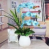 Jnseaol Kunstblumen Künstliche Blume Motte Orchidee Wohnzimmer Schlafzimmer Hochzeit Party Küche Dekoration Keramik Topf DIY Urlaub Geschenk Blau -03