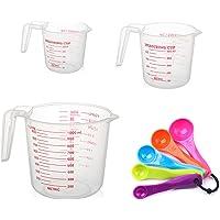 Tasse à mesurer en plastique, Ensemble de tasse à mesurer Pichet à mesurer 3 pièces avec poignée + Ensemble de 5…