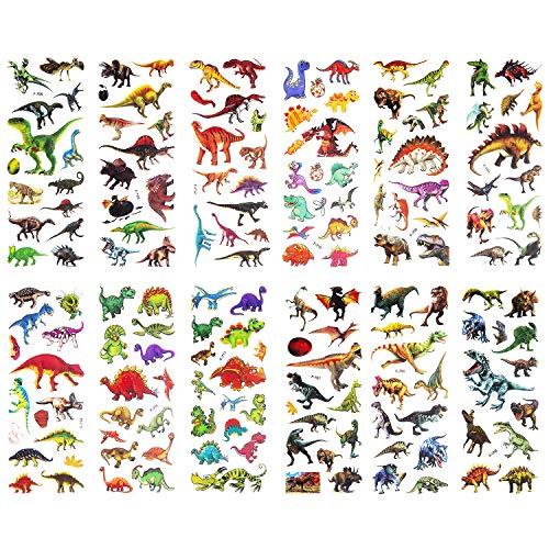 SAVITA Dinosaurier Aufkleber 3D Puffy Aufkleber für Kinder und Kleinkinder (über 300 Stück), 24 Blatt Aufkleber für das Prämien-Sammelalbum zum Thema Dinosaurier -