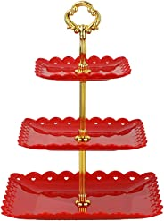 Red square plate 3 tiered serving stand tray cake stands cupcake holder dessert stand table decorations for party Kids Birth