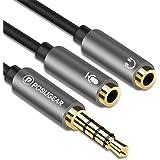Hörlurar Mikrofondelare Adapter, POSUGEAR 3,5 mm hane till 2 dubbel 3,5 mm hona ljud mikrofon Y splitter adapter kompatibel m
