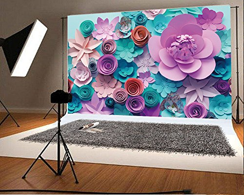 YongFoto 2,2x1,5m Fondos Fotograficos 3D Flor de Papel Pared de Flores Floral de Moda Abstracto Fondos para Fotografia Fiesta Boda Adulto Retrato Cumpleaños Personal Estudio Fotográfico Accesorios