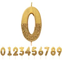 We Heart Birthdays Glitter Number Candle 0, Gold