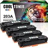 Cool Toner 4 Pack Compatible pour CF540A CF541A CF542A CF543A 203A pour HP Laserjet Pro MFP M281fdw,HP Color Laserjet Pro MFP M281fdn,HP Color Laserjet Pro MFP M280nw,HP Laserjet Pro M254dw M254nw