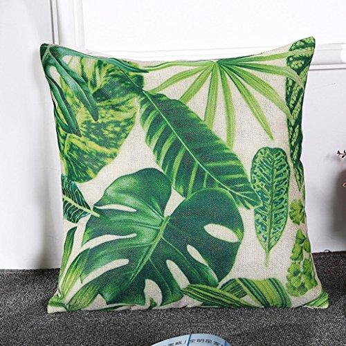 Kissenbezüge Longra Blatt und Kaktus gedruckt Hauptdekoration Kissenbezug Baumwolle Leinen Kissenbezug (B) -