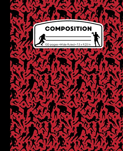 Composition: Football Red Marble Composition Notebook. Sports Fan Book Wide Ruled 7.5 x 9.25 in, 100 pages journal for girls boys, kids, elementary ... teachers (Football Marble Composition Books) (Football Flag Red)