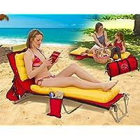 • ROSSO Borsa da spiaggia • lettino COPERCHIO • spiaggia o PICNIC MAT • Food Drink COOLER • cuscino gonfiabile e letto aria staccati