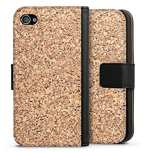 DeinDesign Tasche kompatibel mit Apple iPhone 4s Leder Flip Case Ledertasche Holz Look Kork Apple Iphone 4s Leder