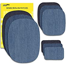 Zefffka Mezclilla Hierro En Parches Termoadhesivos Denim Jeans Algodón Pantalones Vaqueros Tonos De Azul 9 Piezas Juego De Reparación Diferentes Tamaños