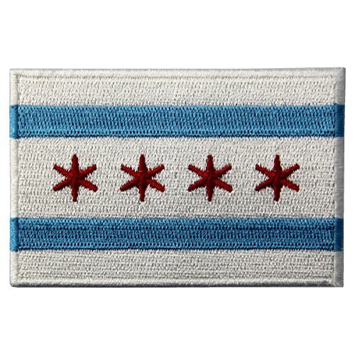 Chicago City Flagge gesticktes Eisen auf Sew auf Illinois Patch