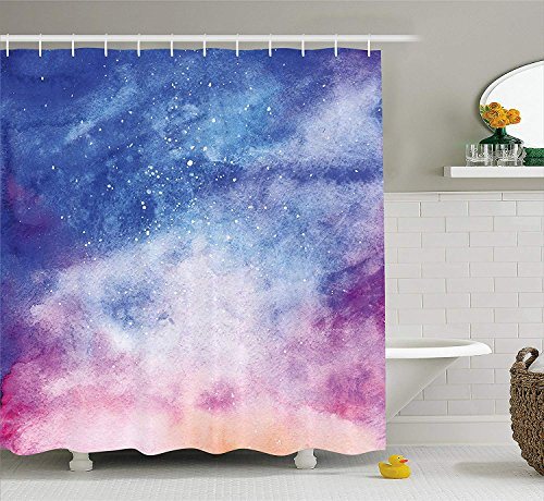 JIEKEIO Navy and Blush Shower Curtain, Watercolor Style Starry Space Galaxy Nebula Abstract Cosmos Inspired, Fabric Bathroom Decor Set with Hooks,60 * 72inch, Blue Pink Salmon - 72 In Blush