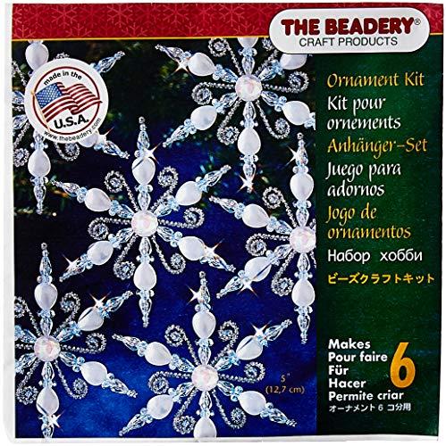 Holiday Beaded Ornament Kit-Light Sapphire Snowflake Makes 6 -