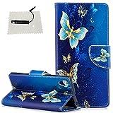 TOCASO Sony Xperia XA1 Plus Hülle, Leder Schwarz Flip Wallet Case Blume Kartensteckplätze Schutzhülle HandyHülle Sony Xperia XA1 Plus Tasche Standfunktion Magnetverschluß - (Goldener Schmetterling)